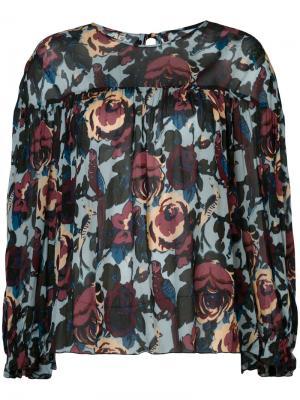 Блузка с цветочным принтом Anna Sui. Цвет: синий
