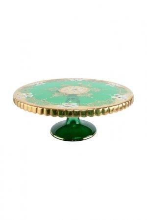 Тортница 32 см лепка зеленая Bohemia. Цвет: прозрачный