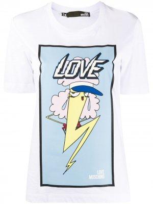 Футболка с графичным принтом Love Moschino. Цвет: белый