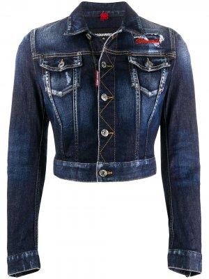 Укороченная джинсовая куртка с вышивкой Dsquared2. Цвет: синий