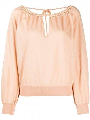 Блузка с вырезом капелькой и пышными рукавами Alberta Ferretti. Цвет: оранжевый