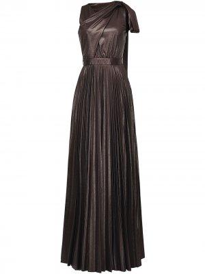 Платье макси с плиссировкой и завязки Pinko. Цвет: черный