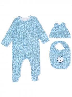 Комплект для новорожденного с логотипом Philipp Plein Junior. Цвет: синий