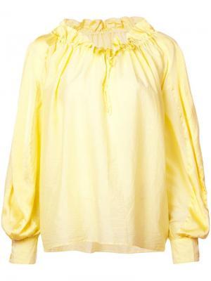 Свободная блузка с горловиной на шнурке Tsumori Chisato. Цвет: желтый