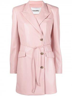 Однобортное пальто с поясом Nanushka. Цвет: розовый