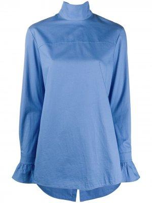Блузка с завязками на воротнике Victoria Beckham. Цвет: синий