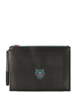 Клатч на молнии с принтом Tiger Kenzo. Цвет: черный