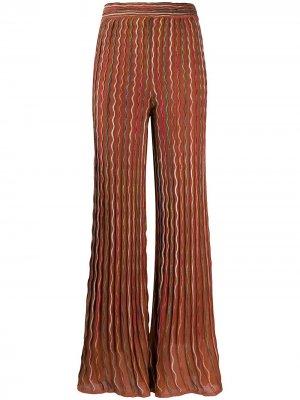 Расклешенные брюки с прозрачными вставками M Missoni. Цвет: коричневый