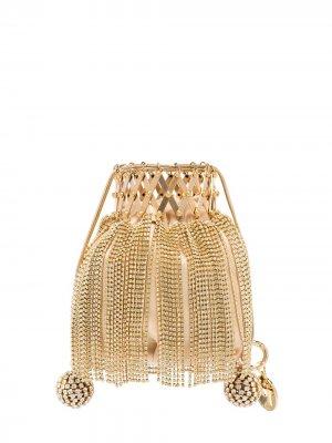 Мини-сумка Flara с бахромой Rosantica. Цвет: золотистый