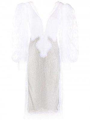 Свадебное платье с кружевом Christopher Kane. Цвет: белый