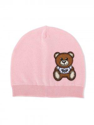 Шапка бини с аппликацией Teddy Bear Moschino Kids. Цвет: розовый