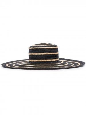 Соломенная шляпа Ursula в полоску Maison Michel. Цвет: черный