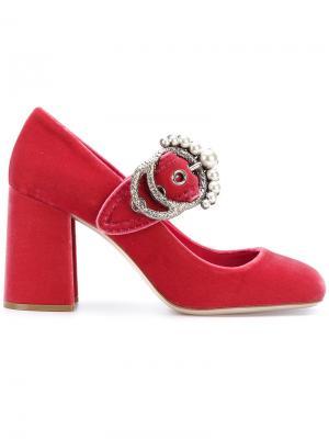 Декорированные туфли Miu. Цвет: розовый и фиолетовый