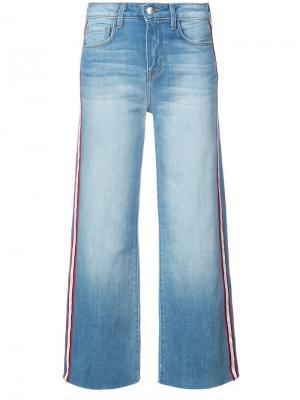Укороченные брюки с широкими штанинами L'agence. Цвет: синий