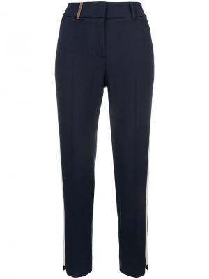 Side stripe cropped trousers Peserico. Цвет: синий