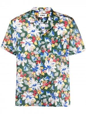 Рубашка с цветочным принтом YMC. Цвет: зеленый