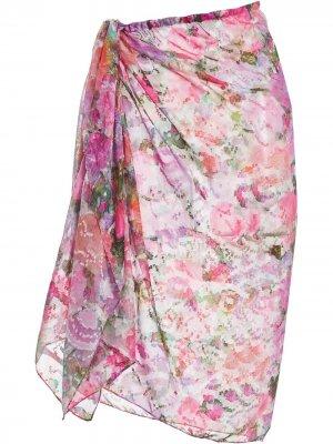 Парео Blossom с цветочным принтом PatBO. Цвет: розовый