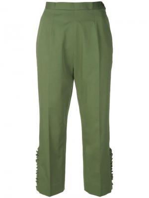 Укороченные брюки с оборками I'M Isola Marras. Цвет: зеленый
