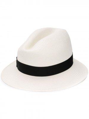 Соломенная шляпа с узкими полями Borsalino. Цвет: белый
