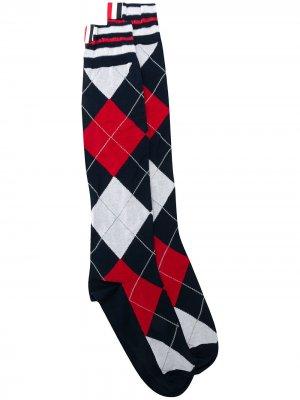 Трикотажные носки с узором аргайл Thom Browne. Цвет: синий