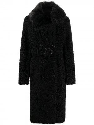 Двубортное пальто из овчины Patrizia Pepe. Цвет: черный
