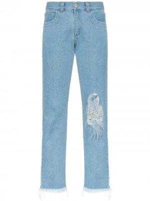 MarquesAlmeida джинсы прямого кроя с прорезями Marques'Almeida. Цвет: синий