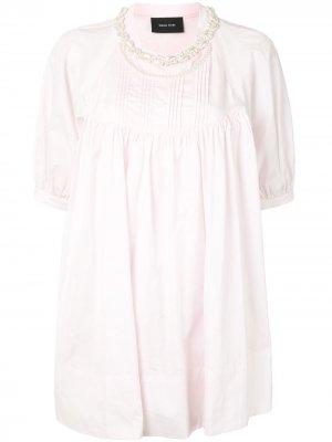 Расклешенная блузка с искусственным жемчугом Simone Rocha. Цвет: розовый