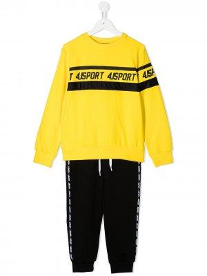 Спортивный костюм с логотипом Cesare Paciotti 4Us Kids. Цвет: желтый