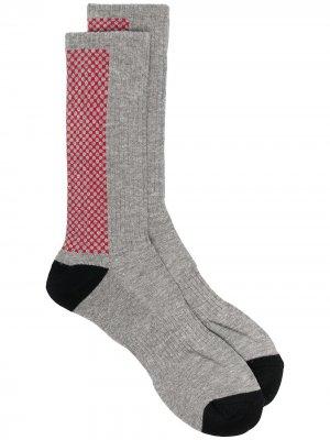 Носки в клетку Yohji Yamamoto. Цвет: серый