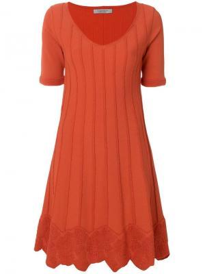 Расклешенное платье с короткими рукавами D.Exterior. Цвет: желтый