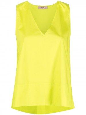 Расклешенная блузка с V-образным вырезом TWINSET. Цвет: желтый