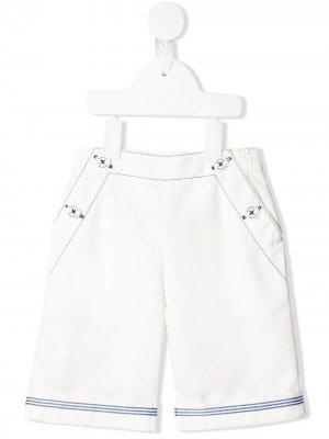 Полосатые брюки с пуговицами спереди Familiar. Цвет: белый