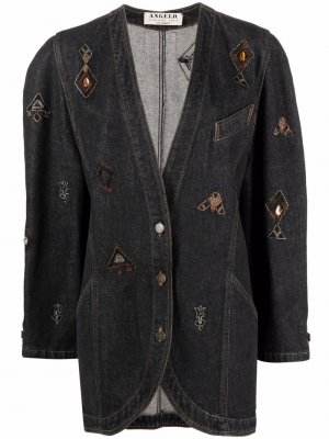 Джинсовая куртка 1980-х годов с вышивкой A.N.G.E.L.O. Vintage Cult. Цвет: синий