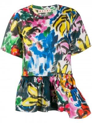 Блузка с баской и абстрактным принтом Marni. Цвет: желтый