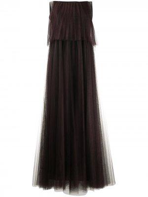 Плиссированное многослойное платье Fabiana Filippi. Цвет: коричневый