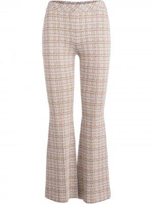 Расклешенный брюки в клетку Rosetta Getty. Цвет: коричневый