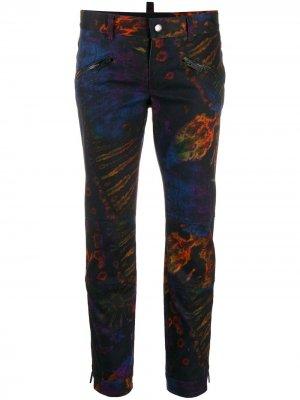 Укороченные брюки с принтом тай-дай Dsquared2. Цвет: фиолетовый