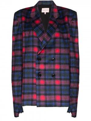 Клетчатый двубортный пиджак с рукавами-перчатками Natasha Zinko. Цвет: розовый