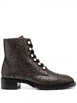 Декорированные ботинки в стиле милитари Stuart Weitzman. Цвет: коричневый