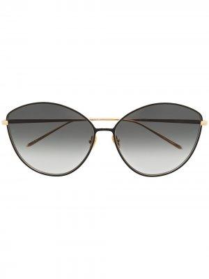 Солнцезащитные очки в оправе кошачий глаз с эффектом градиента Linda Farrow. Цвет: золотистый