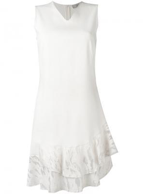 Платье шифт с рюшами D.Exterior. Цвет: белый