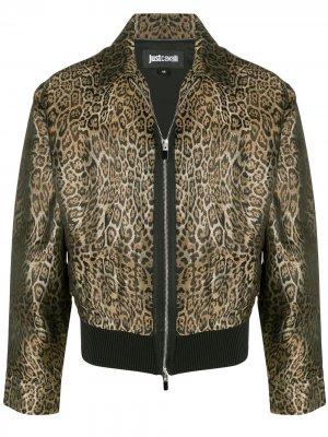 Бомбер с леопардовым принтом Just Cavalli. Цвет: коричневый