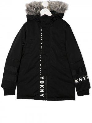 Пальто с логотипом Dkny Kids. Цвет: черный
