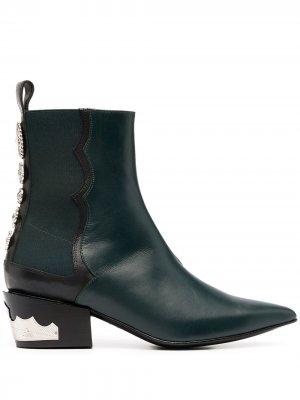 Ботинки в стиле вестерн с заклепками Toga Pulla. Цвет: зеленый