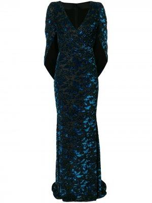 Бархатное платье-кейп Talbot Runhof. Цвет: синий