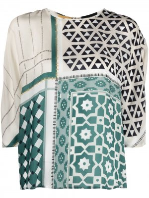 Блузка с завязками и герметичным принтом Roberto Collina. Цвет: зеленый