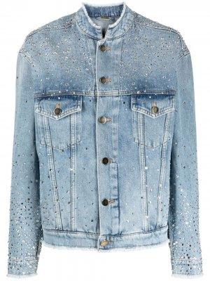 Джинсовая куртка с кристаллами Alexandre Vauthier. Цвет: синий