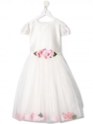 Платье с цветочным принтом и поясом Lesy. Цвет: белый