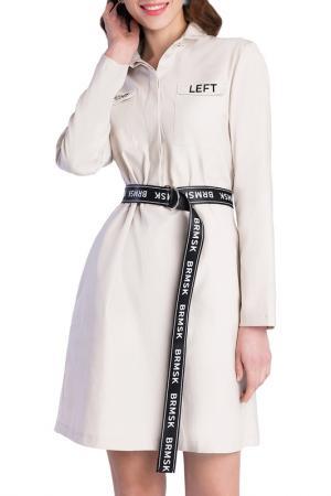 Платье-рубашка BARMARISKA. Цвет: бежевый