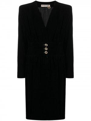 Бархатное платье с пуговицами на поясе Yves Saint Laurent Pre-Owned. Цвет: черный
